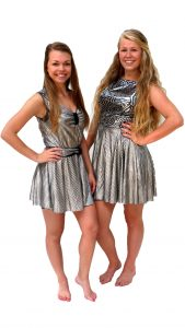 Ghislaine Dance Company - kledingverhuur - Jurkje divers zilver met print