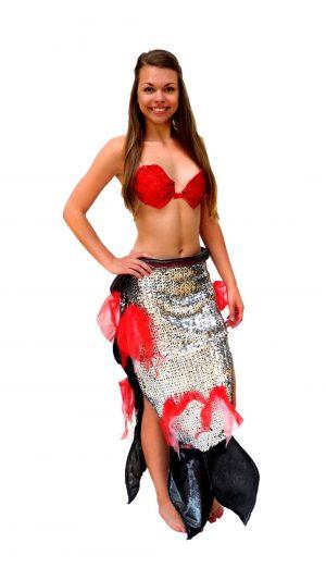 Ghislaine Dance Company - Kledingverhuur - Kleine zeemeermin zilver+rood