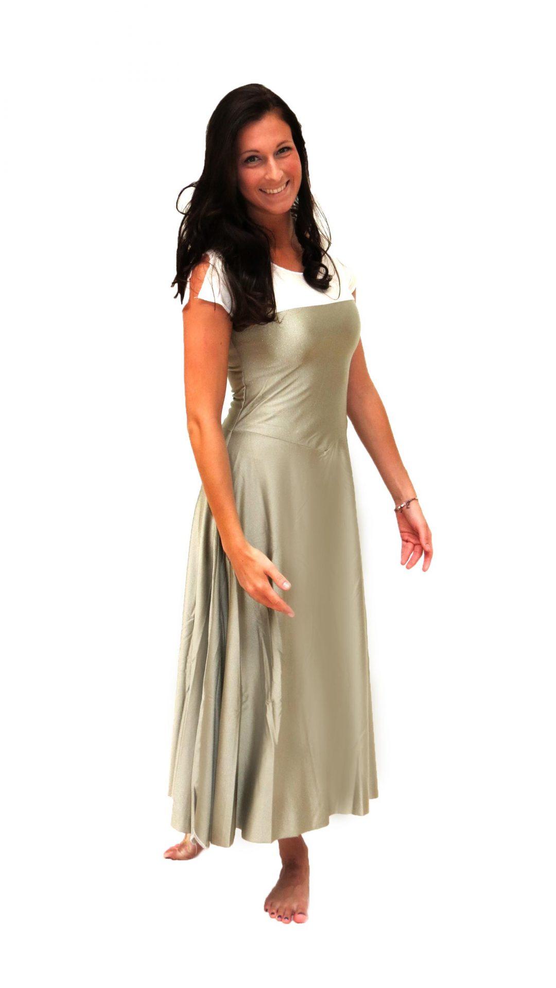 Welp Lycra jurk goud met wit incl. bruine bolero - Ghislaine Dance Company ZS-28