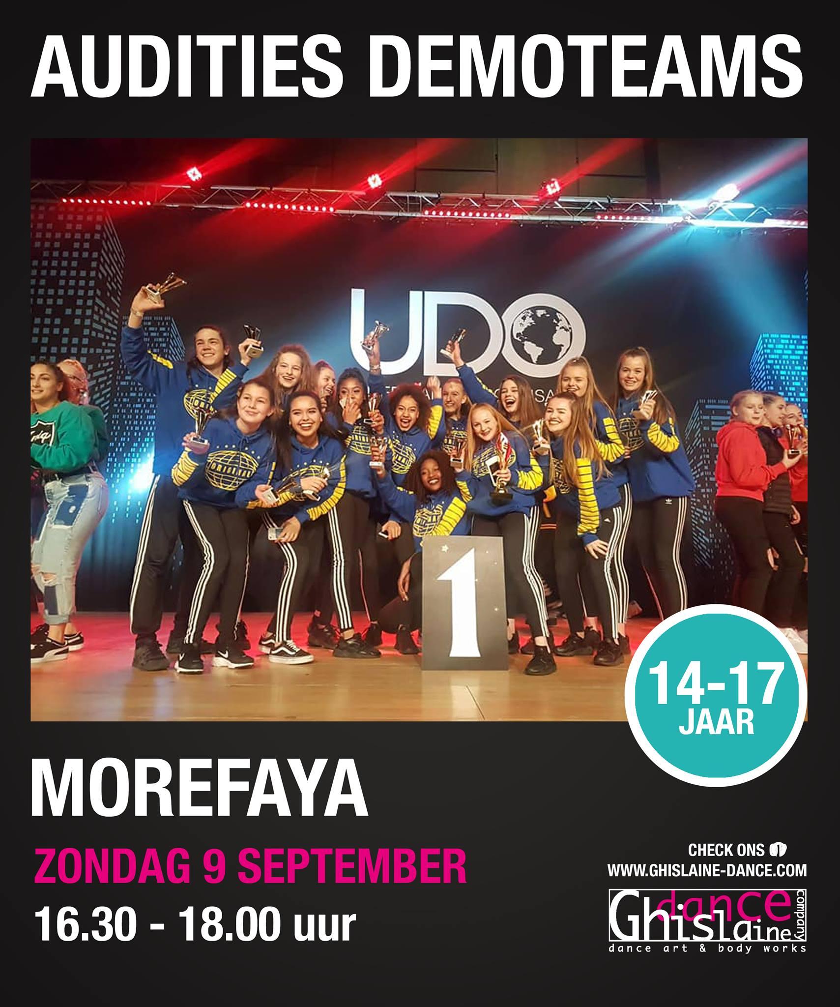 Auditie demoteam Morefaya Ghislaine Dance Company